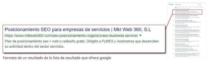 Formato de un resultado que ofrece google en su lista de resultados
