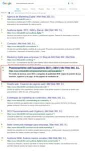 lista de resultados orgánicos en google
