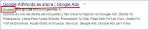 formato de los resultados google ads