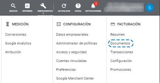 Documentos Facturas Google Ads