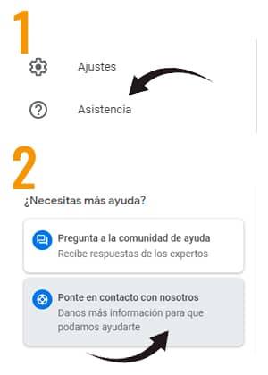 como contactar con google